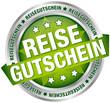 """Button Banner """"Reisegutschein"""" grün/silber"""