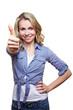 Erfolgreiche Frau hält Daumen hoch