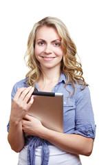 Studentin trägt Tablet Computer