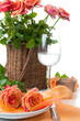 Festive table setting with roses