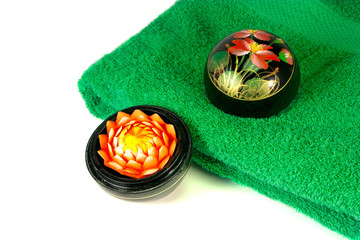 Flower blossom and green towel - 2