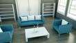 Wohndesign - Couchgarnitur blau