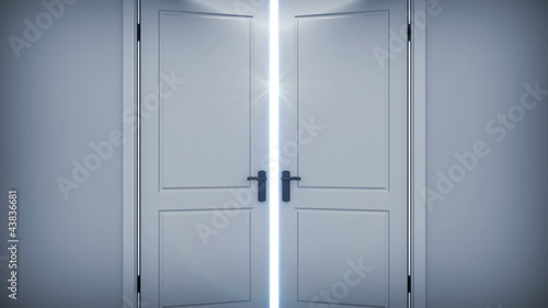 Doors opening to a bright light. Alpha Channel HD 1080