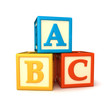 ABC building blocks on white background