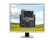 Monitor showing a software softphone
