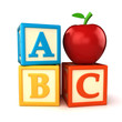 ABC building blocks with apple on white background