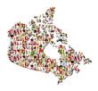 map of canada with a lot of people portraits