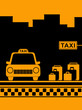 yellow urban taxi background with taxi stop and bag