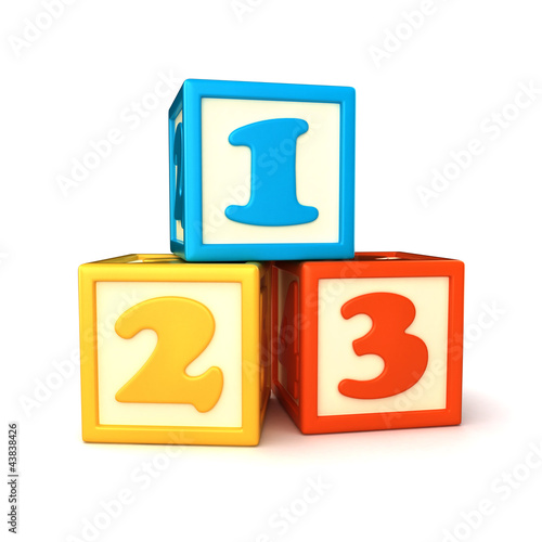 123 building blocks on white background