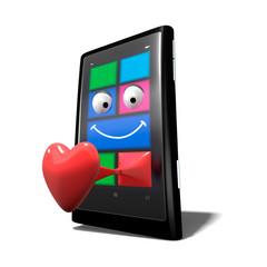 Téléphone portable coeur
