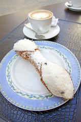 Breackfast with cannoli, sicilian traditional cake