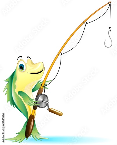 Pesce Pescatore Cartoon Fisher Fish-Vector