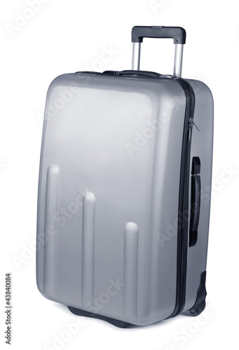 Silver plastic suitcase on wheels