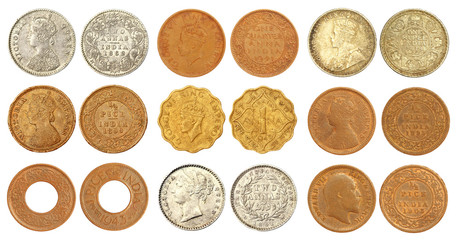 Collection of old Indian coins of British colonial regime