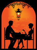 Fototapety Silhouette of a Couple at restaurant