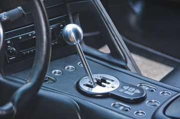 Gear shift lever in exotic Italian sportscar