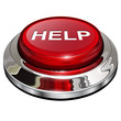 Help button, 3d red glossy metallic icon