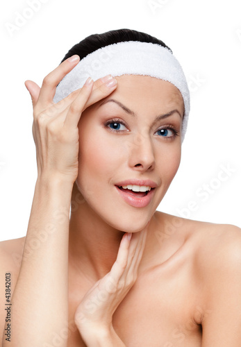 Admiration after making a facelift, isolated, white background