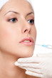 Botox lips correction, close up, isolated, white background
