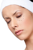 Facelift, plastic surgery, isolated, white background poster