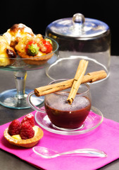 chocolate cup with confectionery