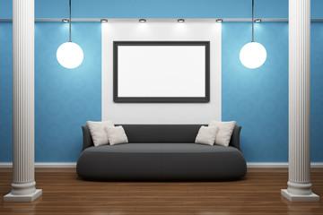 Bilderrahmen mit schwarzem Sofa und Säulen