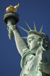 Close-up Portrait of Statue of Liberty Bright Blue Sky