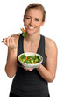 Woman Holding Salad Bowl and Fork
