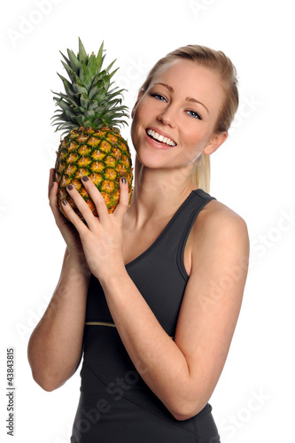 Young Woman Holding Pineapple