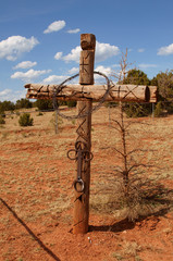 wooden barbed cross