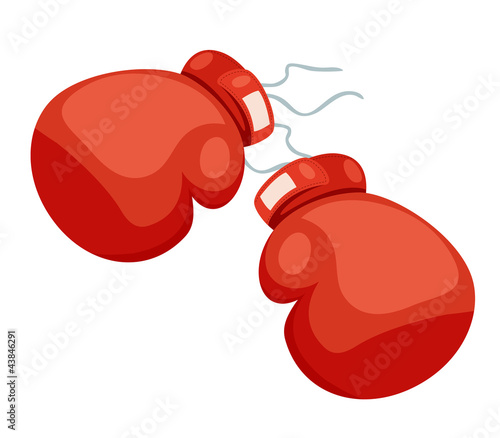 A two boxing glove on a white