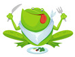 Green frog eating