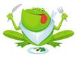 Green frog eating