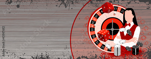 Roulette wheel an dealer girl
