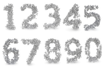 Set of 3d digits made from numbers