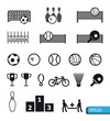 Icons Sports Vector On Black B...