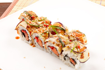 sushi with eggplant and salmon
