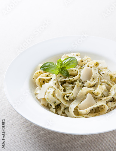 Plate of fettuccine al pesto