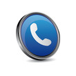 Telephone, phone icon blue button