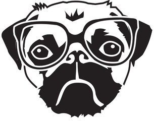 pug with glasses