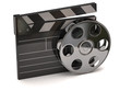 Movie clapper board and film reel