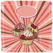 Vector background with of cake in retro style. Vintage card.