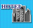 Black hotel buildings with blue background