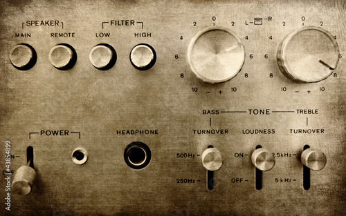 Grunge old amplifier close up