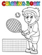 Coloring book cartoon tennis player