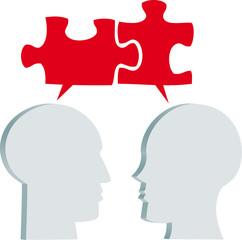 hombre y mujer con globos de texto en forma de puzzle