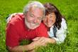 Glückliche Senioren liegen auf Wiese