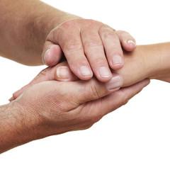 Hände halten Hand zum Trost