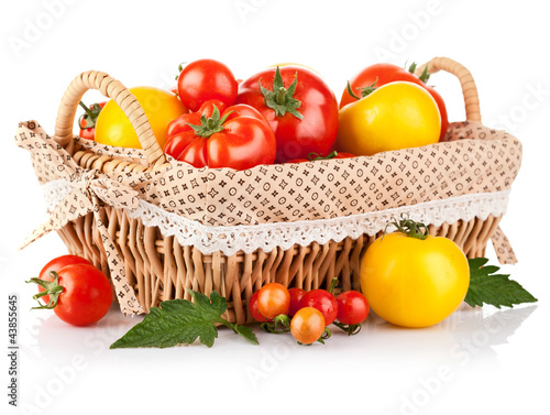 fresh tomatoes in the basket