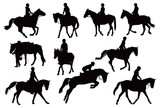 Ten horses with riders